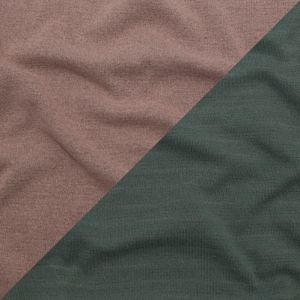 Italian Striped Sea Spray, Castor Gray and Adobe Rose Reversible Wool Double Knit