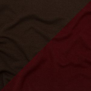 Italian Red and Brown Reversible Wool Double Knit