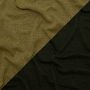 Italian Ecru Olive and Deep Forest Reversible Wool Double Knit
