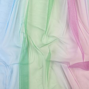 Turquoise, Absinthe Green and Violet Ombre Shadow Tulle