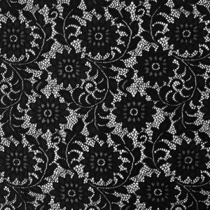 Black Sunflower Re-Embroidered Stretch Lace