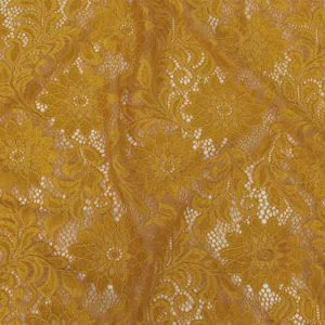 Mustard Sunflower Re-Embroidered Stretch Lace