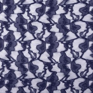Metallic Navy Floral Lace