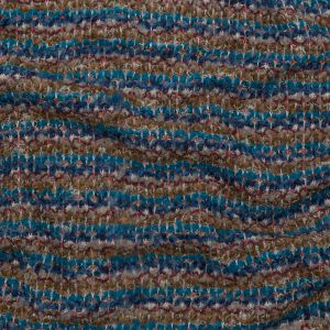 Turquoise, Golden Olive and Coral Striped Blended Wool Knit