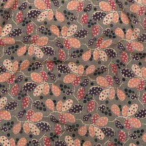 Famous NYC Designer Smoke Peach and Ebony Dotted Leaves Cotton and Silk Voile