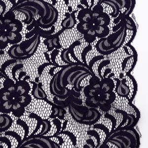 Blackberry Cordial Floral Re-Embroidered Lace with Scalloped Edges