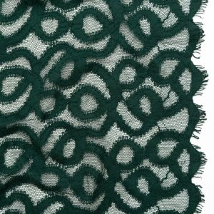 Sycamore Green Swirling Crochet Cotton Lace with Scalloped Eyelash Edges