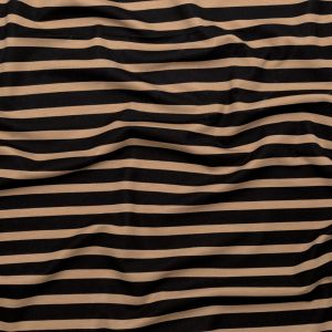 Tan and Black Striped Printed Double Knit