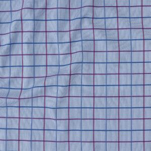 Premium Medium Blue, Maroon and Meadow Violet Tattersall Checkered and Pinstripes Cotton Shirting