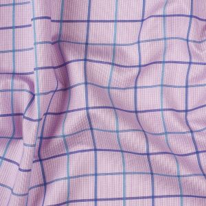 Premium Lilac, Turquoise and Blue Tattersall Checkered and Pinstripes Cotton Shirting
