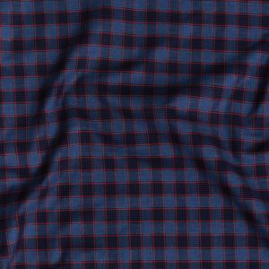 Premium Bright Navy and American Beauty Plaid Twill Cotton Shirting