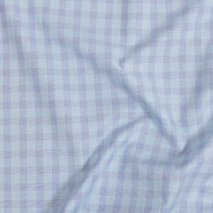 Premium Baby Blue and Lavender Checkered Cotton Shirting