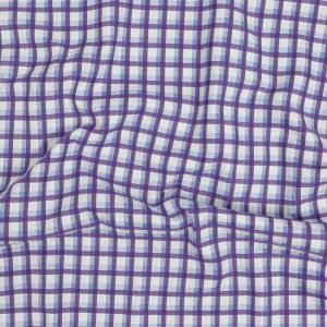 Premium Periwinkle and Hydrangea Shadow Check and Chevron Cotton Dobby Shirting