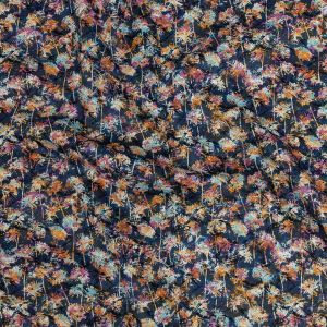 Premium Crown Blue, Dusty Orange and Coral Dandelions Printed Cotton Shirting