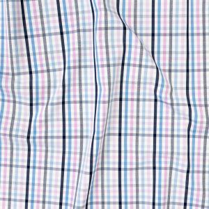 Premium Sky Blue, Candy Pink and White Plaid Cotton Shirting