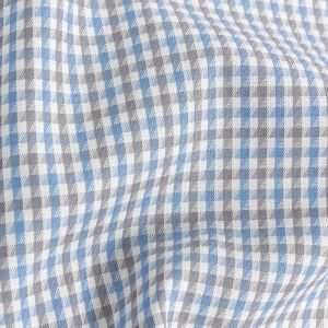 Premium Sky Blue and Pewter Tattersall Checks Wrinkle Resistant Dobby Cotton Shirting