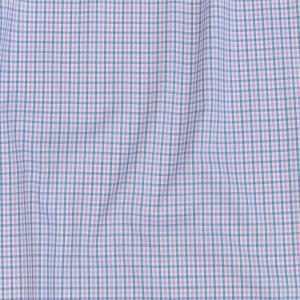 Premium Sky Blue and Baby Pink Tattersall Checks Wrinkled Resistant Dobby Cotton Shirting