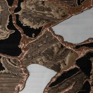 Metallic Two Penny and Black Abstract Burnout Luxury Brocade
