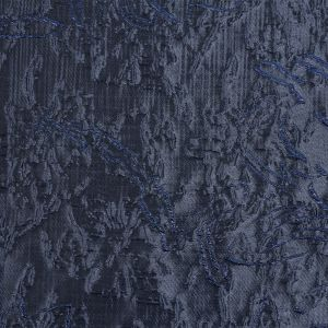 Metallic Royal and Navy Blue Floral Silhouettes Luxury Brocade