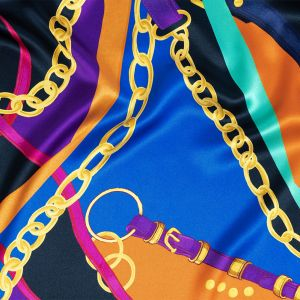 Italian Royal Blue, Orange and Gold Chains and Purse Straps Digitally Printed Silk Charmeuse