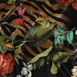 Italian Black, Red and Green Animal Markings and Flora Digitally Printed Silk Charmeuse