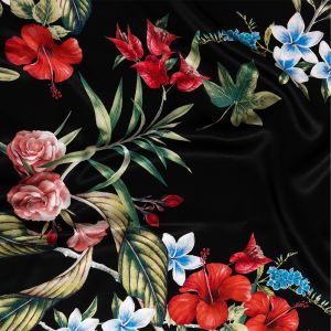 Italian Black, Red and Blue Floral Border Digitally Printed Silk Charmeuse