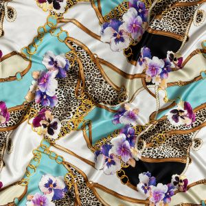 Italian Chains, Straps, Flora and Leopard Spots Digitally Printed Silk Charmeuse Panel