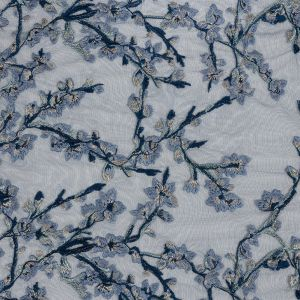 Angelino Navy Floral Embroidered Lace