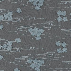 Mattia Steel Blue Floral Embroidered Lace