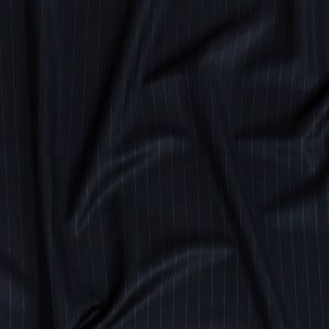 Super 120 Navy Pinstriped Twill Wool Suiting