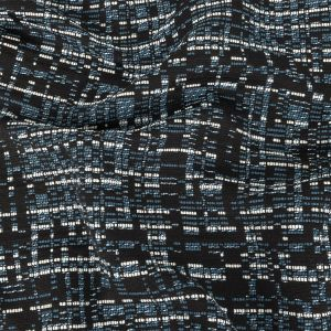 Italian Blue, Black and White Blended Cotton Tweed