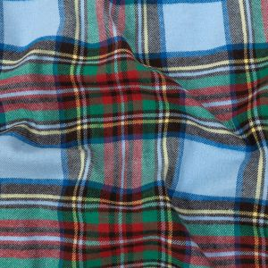Baby Blue, Red and Green Plaid Cotton Flannel