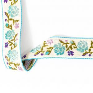 Pink, Blueberry and Angel Blue Ombre Floral German Jacquard Ribbon - 0.875