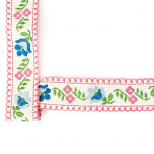 Pink, Blue and Off-White Floral German Jacquard Ribbon - 1