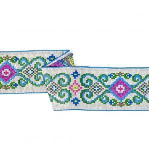 Multicolored and Opal Gray Floral Geometric Embroidered Ribbon - 3.25