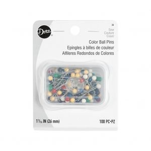 Dritz Color Ball Pins 100 Ct - 1 1/16 Inch