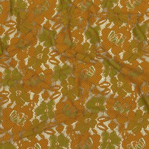 Mustard and Lime Two-Tone Floral Re-Embroidered Lace