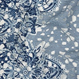 Dutch Blue and Brilliant White Striped Floral Border Printed Guipure Lace with Finished Edges