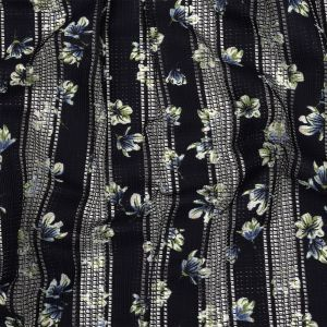 Navy and Green Floral Digitally Printed Gridded Lace