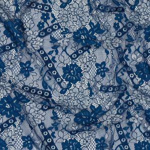 Cobalt and White Floral Corded Lace Panel