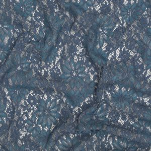 Steel Blue and China Blue Floral Corded Lace Panel