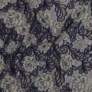 Metallic Gold, Navy and Silver Birch Floral Allover Lace