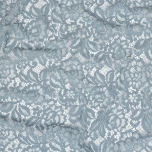 Pale Gray Blue Floral Corded Lace Panel