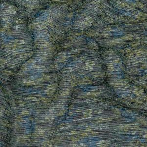 Metallic Green and Blue Floral Printed Plisse
