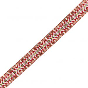 Multicolored Threads on White Geometric Crocheted Ribbon - 1.5