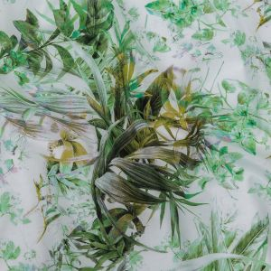 Toulouse Green and Yellow Tropical Oasis Mercerized Organic Egyptian Cotton Voile