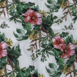 Toulouse Coral Florals and Foliage Mercerized Organic Egyptian Cotton Voile