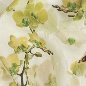 Tilted Grape Green Orchid and Tofu Printed Linen Woven