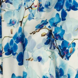 Tilted Blue Lillies and Lily White Printed Stretch Linen and Rayon Woven