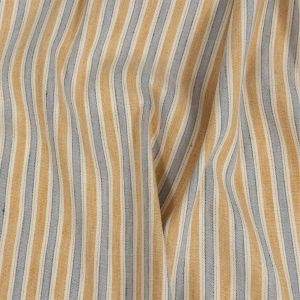 Gamboge and Icelandic Blue Ticking Striped Stretch Linen and Rayon Woven